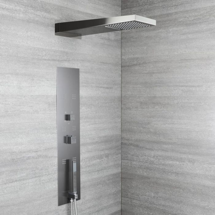 Milano Ryukyu - Modern Concealed Thermostatic Shower Tower Panel with Waterfall Shower Head, Hand Shower and Body Jets - Grey