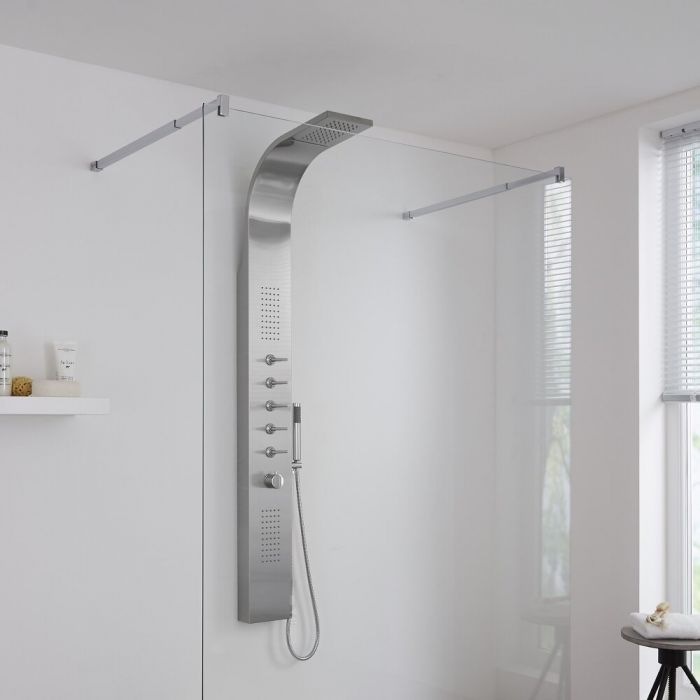 Milano Thermostatic Shower Tower with Waterfall Head, Handset and Body Jets