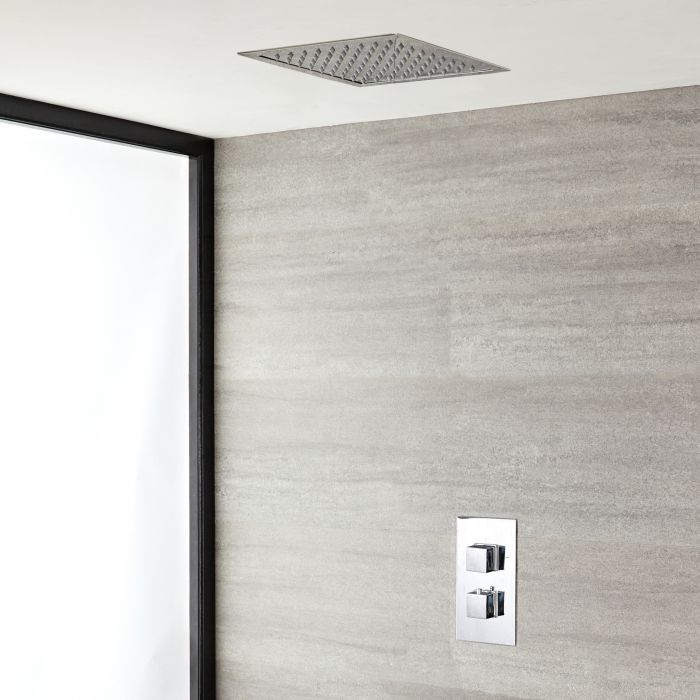 Milano Arvo - Modern 280mm Square Recessed Shower Head with Thermostatic Shower Mixer Kit - Chrome