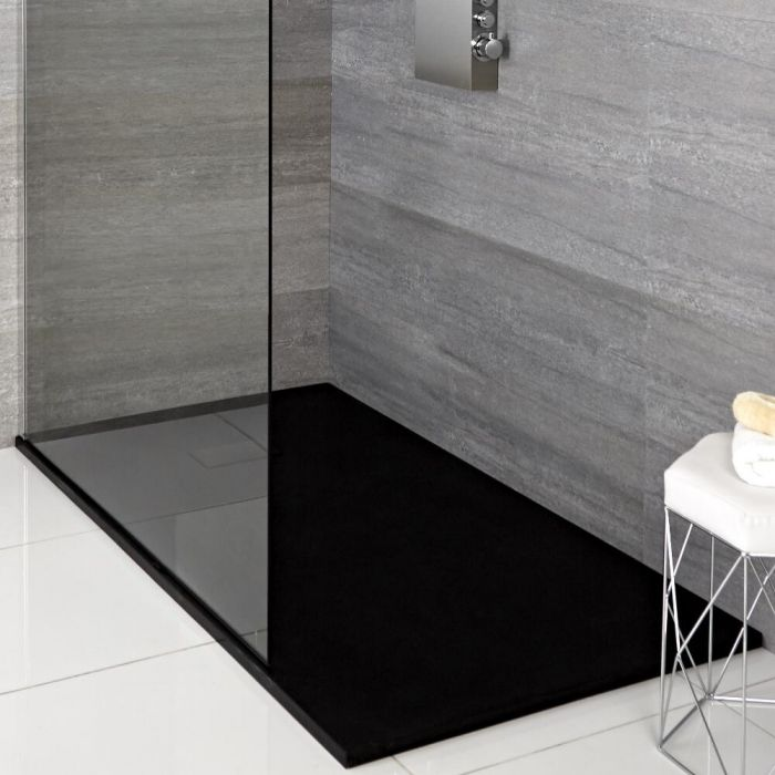 Milano Graphite Slate Effect Rectangular Shower Tray 1100x700mm