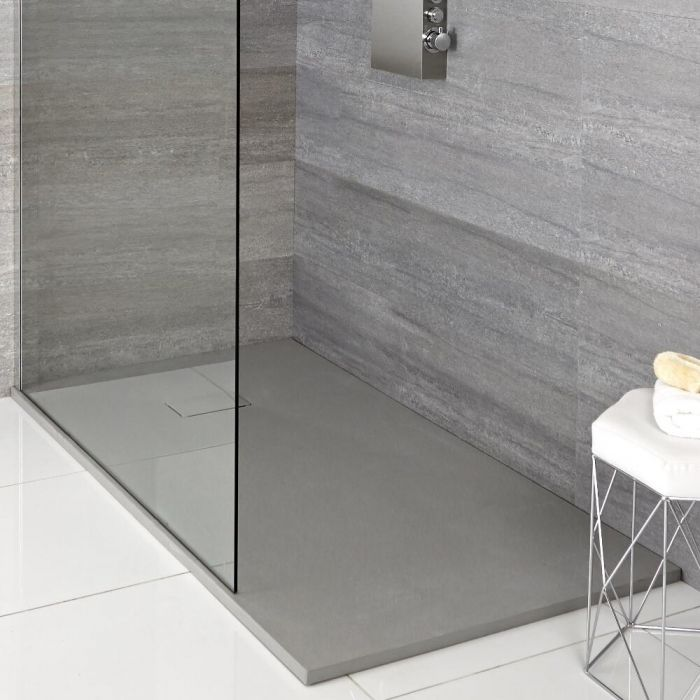 Milano Light Grey Slate Effect Rectangular Shower Tray 900x800mm