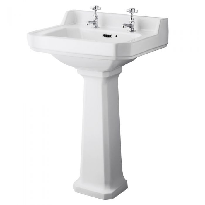 Old London Richmond - 560mm Basin with Full Pedestal - 2 Tap-Holes
