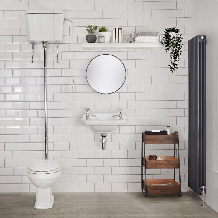 Milano Carlton - White Traditional Round Floor Standing Toilet Pan with High Level Cistern and Seat