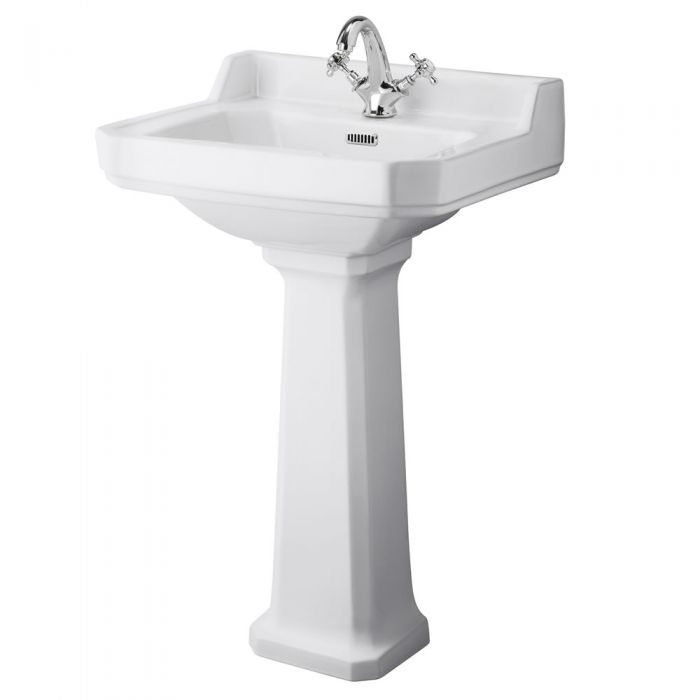 Premier Carlton Large 595mm 1TH Basin and Pedestal