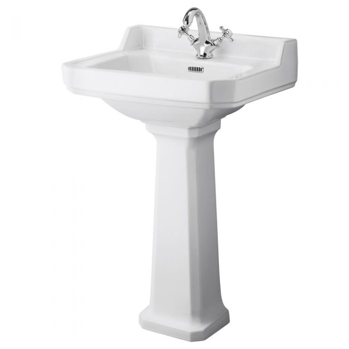Old London Richmond - 560mm Basin with Full Pedestal - 1 Tap-Hole