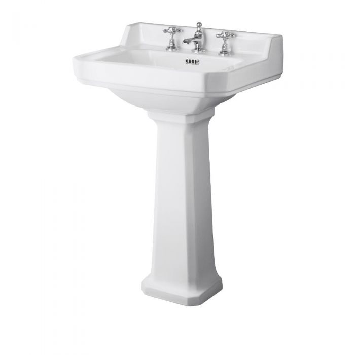 Milano Carlton - White Traditional Square Basin with Full Pedestal - 560mm x 450mm (3 Tap-Holes)