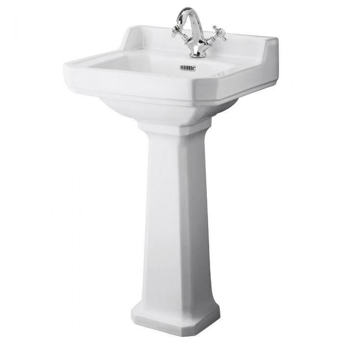 Premier Carlton - 500mm Cloakroom Basin with Full Pedestal - 1 Tap-Hole