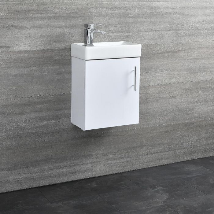 Milano Lurus - White 400mm Minimalist Compact Wall Hung Cloakroom Vanity Unit with Basin