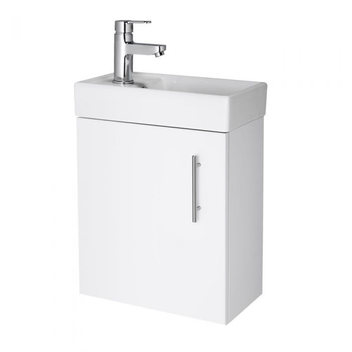 Milano - White Modern 400mm Minimalist Compact Wall Hung Cloakroom Vanity Unit with Basin (1 Tap-Hole)