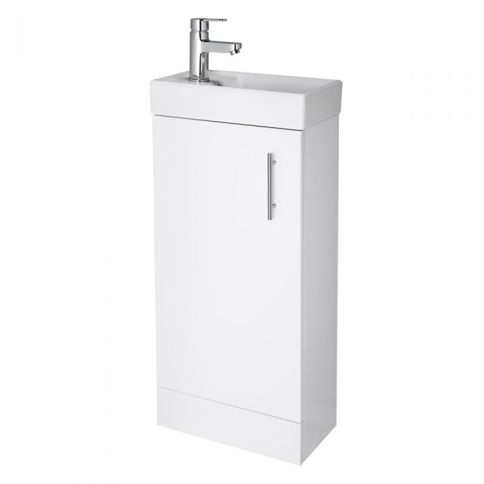 Milano - White Modern 400mm Minimalist Compact Floor Standing Cloakroom Vanity Unit with Basin (1 Tap-Hole)
