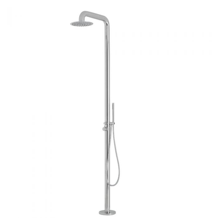 Milano Adra - Chrome Freestanding Outdoor Shower with Hand Shower