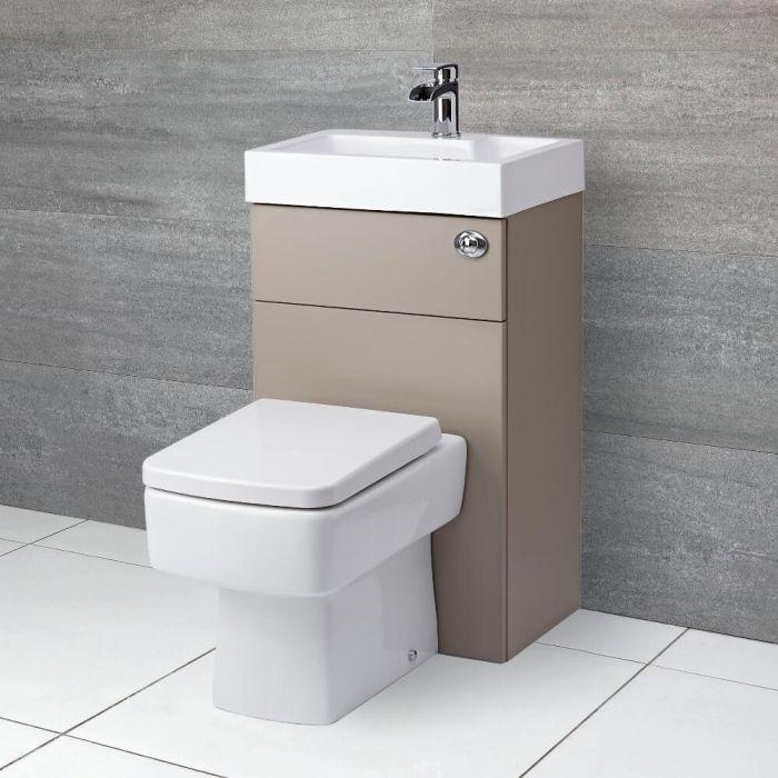Milano Lurus - Stone Grey Modern Farington Toilet and Basin Unit Combination - 500mm x 890mm