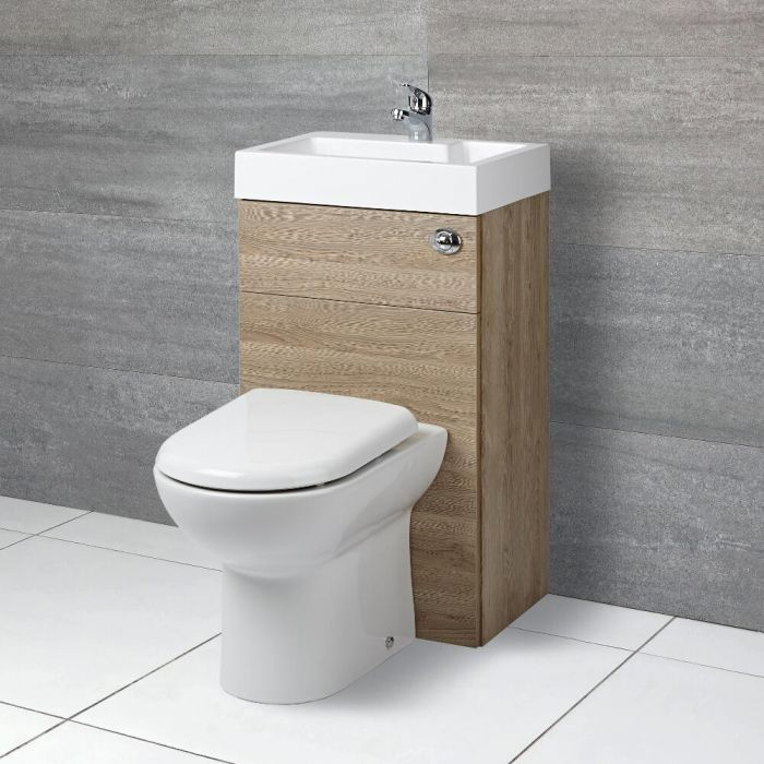 Milano Lurus - Oak Modern Linton Toilet and Basin Unit Combination - 500mm x 890mm