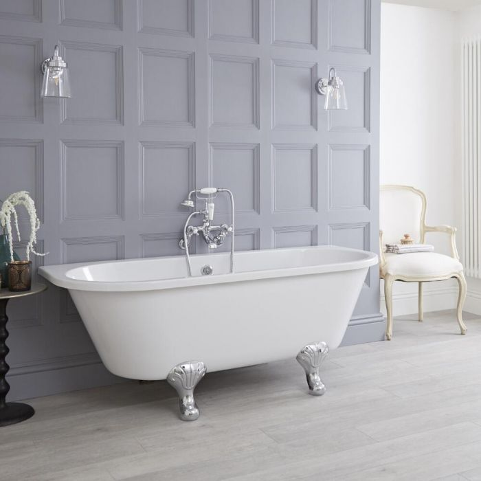 Premier - 1700mm x 745mm Back to Wall Traditional Freestanding Bath