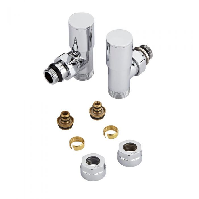 "Milano - Chrome 3/4"" Male Thread Valves With 16mm Multi Adaptors"
