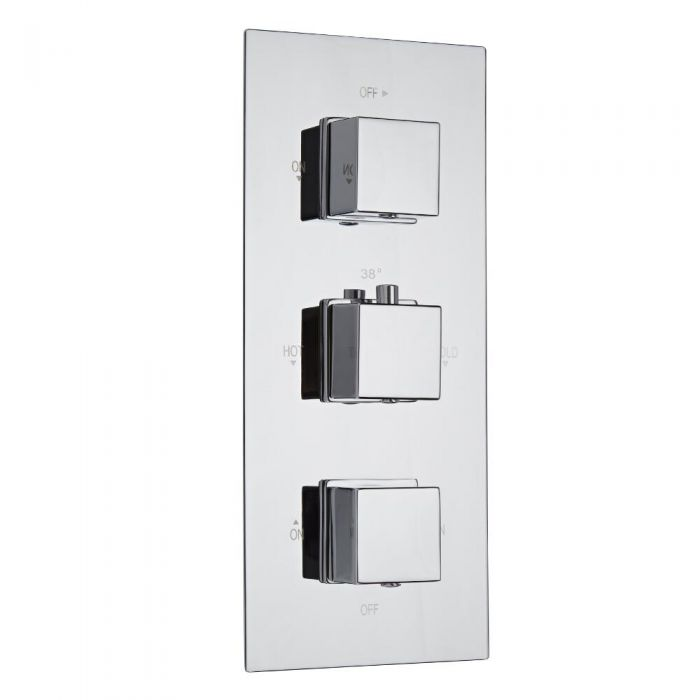 Milano Arvo Square Triple Diverter Thermostatic Shower Valve - 3 Outlets Standard Plate