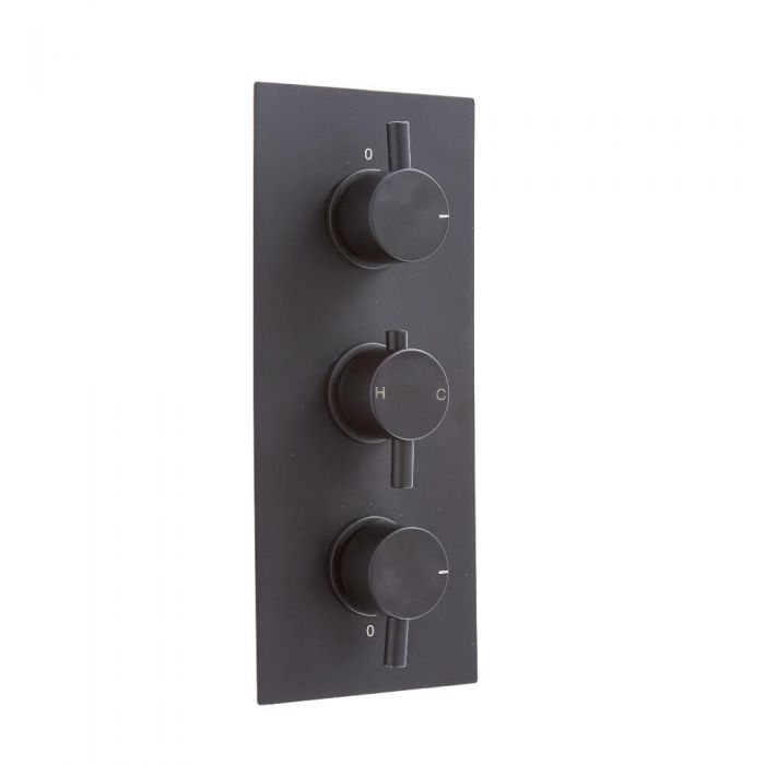 Milano Nero - Triple Thermostatic Shower Valve - Two Outlets - Black