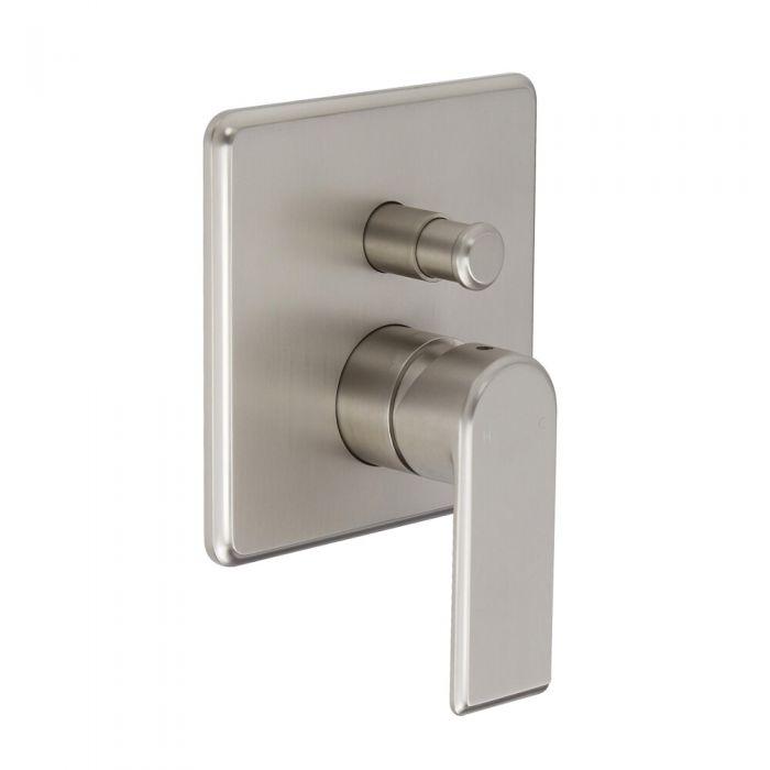 Milano Ashurst - Modern Manual Shower Valve - Two Outlets - Brushed Nickel