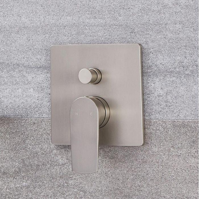 Milano Hunston - Modern Manual Shower Valve - Two Outlets - Brushed Nickel
