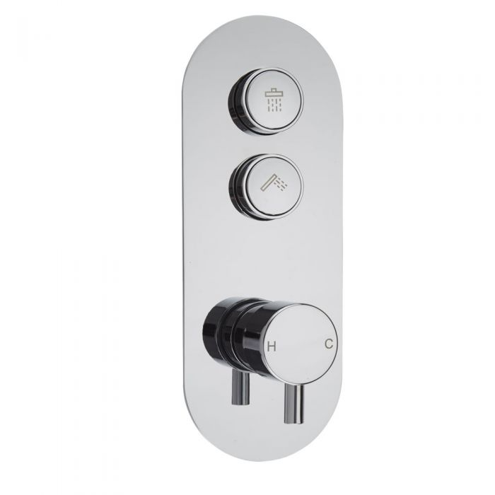 Milano Orta - Two Outlet Push Button Shower Valve - Round Button