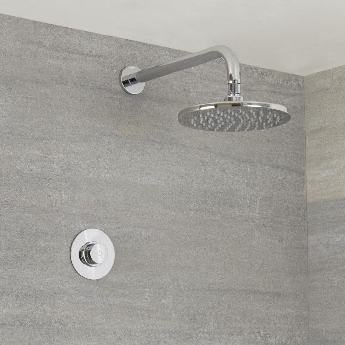Milano Vis - One Outlet Digital Thermostatic Shower with Round Wall Mounted Shower Head 200mm