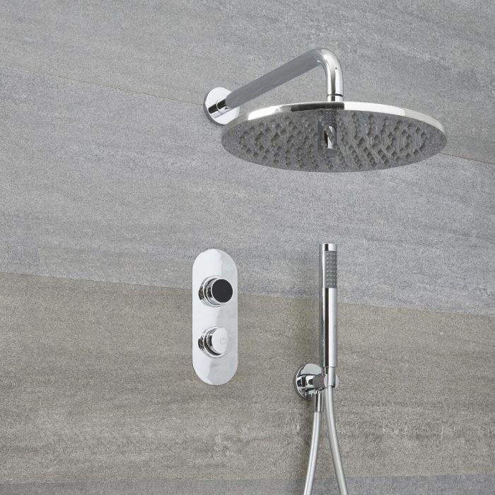 Milano Vis - Modern 2 Outlet Shower with Digital Thermostatic Valve, Hand Shower and Round Wall Mounted Shower Head - Chrome