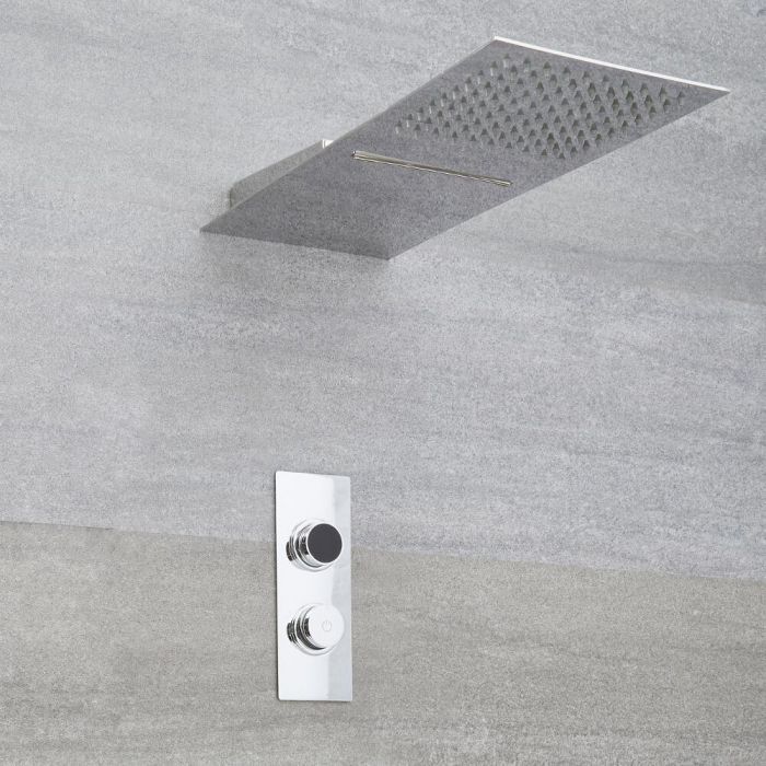 Milano Vis - Modern 2 Outlet Shower with Digital Thermostatic Valve and Square Waterblade Shower Head - Chrome