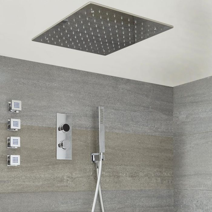 Milano Vis Three Outlet Digital Thermostatic Shower, 500mm Square Recessed Shower Head, Handset and Body Jets