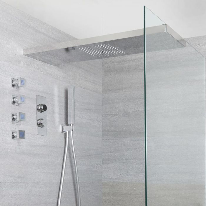 Milano Vis - Three Outlet Digital Thermostatic Shower with Glass Grabbing Shower Head, Handset and Body Jets