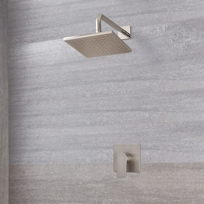 Milano Hunston - Manual Shower Valve with 200mm Square Head - Brushed Nickel