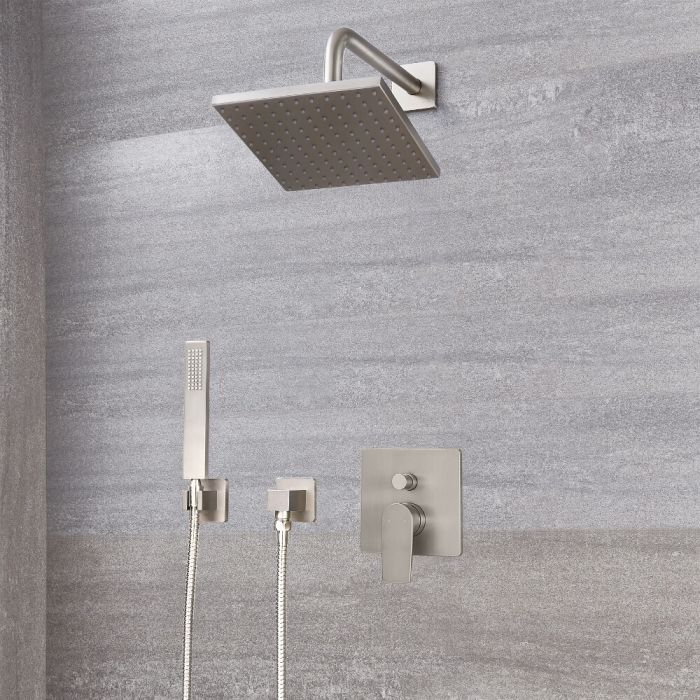 Milano Hunston - Modern Manual Diverter Shower Valve, Square Head and Handset - Brushed Nickel