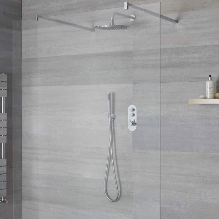 Milano Orta - 2 Outlet Push Button Shower Valve with Handset and 300mm Rainfall Shower Head