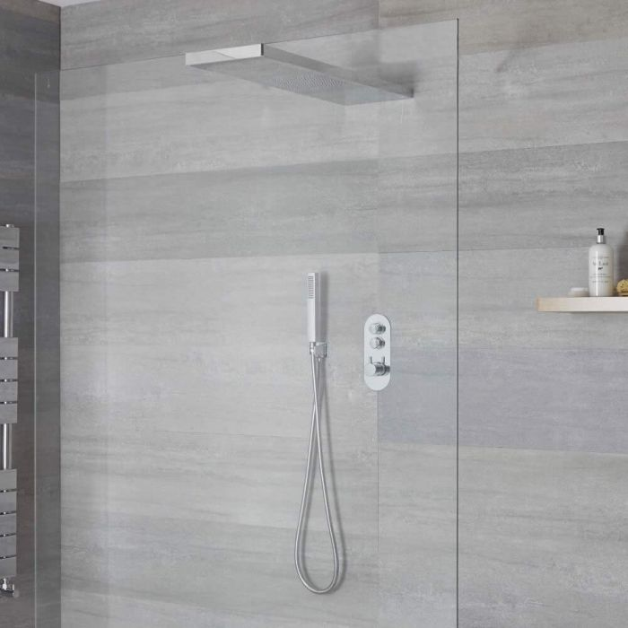 Milano Orta - 2 Outlet Push Button Shower Valve with Handset and Glass Grabbing Shower Head