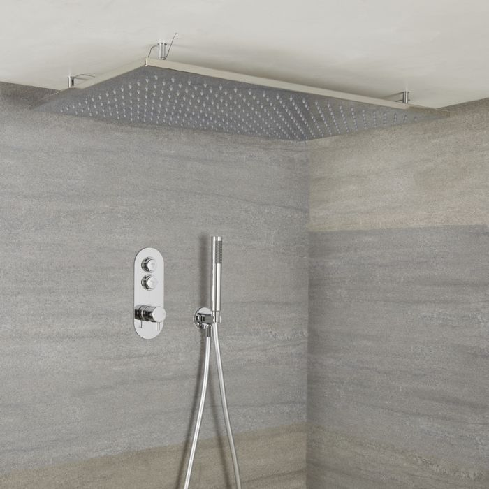 Milano Orta - Modern 2 Outlet Shower with Push Button Valve, Hand Shower and Large Recessed Rainfall Shower Head - Chrome