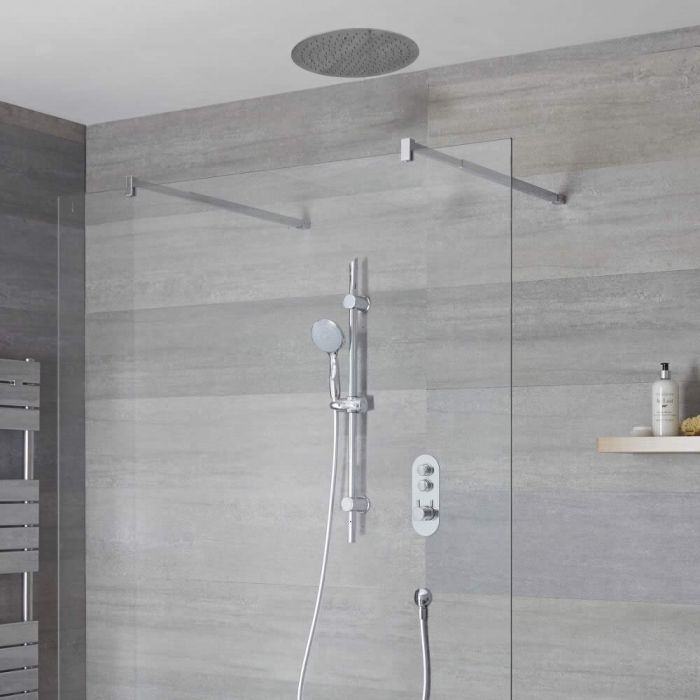 Milano Orta - 2 outlet Push Button Shower Valve, Slide Rail Kit and Recessed Round 400mm Head