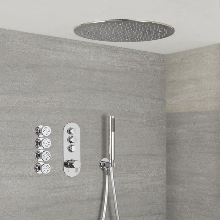 Milano Orta - Modern 3 Outlet Shower with Push Button Valve, Hand Shower, Round Recessed Shower Head and Body Jets - Chrome
