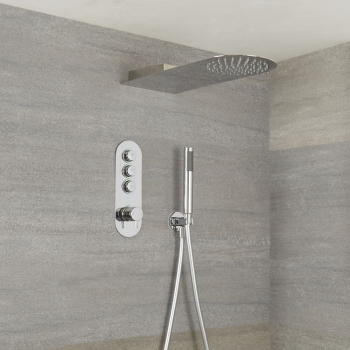 Milano Orta - Modern 3 Outlet Push Button Valve, Hand Shower and Waterblade Shower Head - Chrome