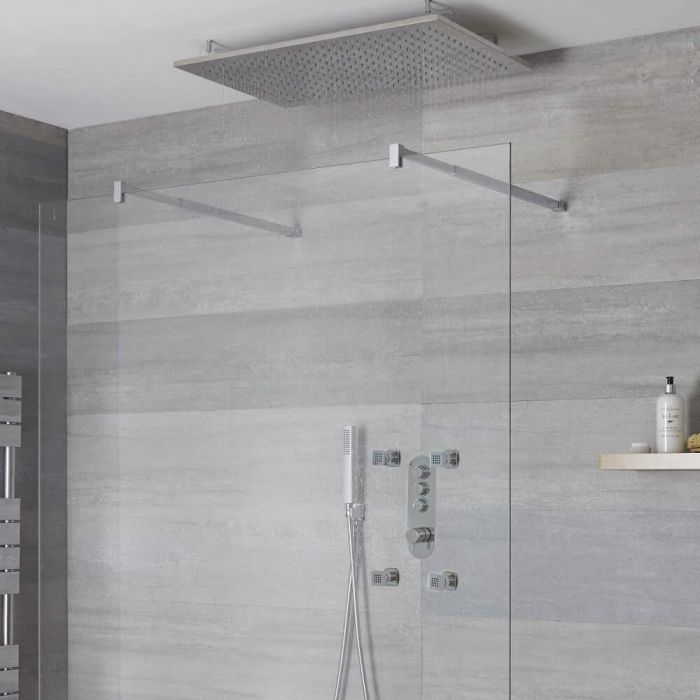 Milano Orta - 3 Outlet Push Button Shower Valve, Handset Recessed Shower Head and Body Jets