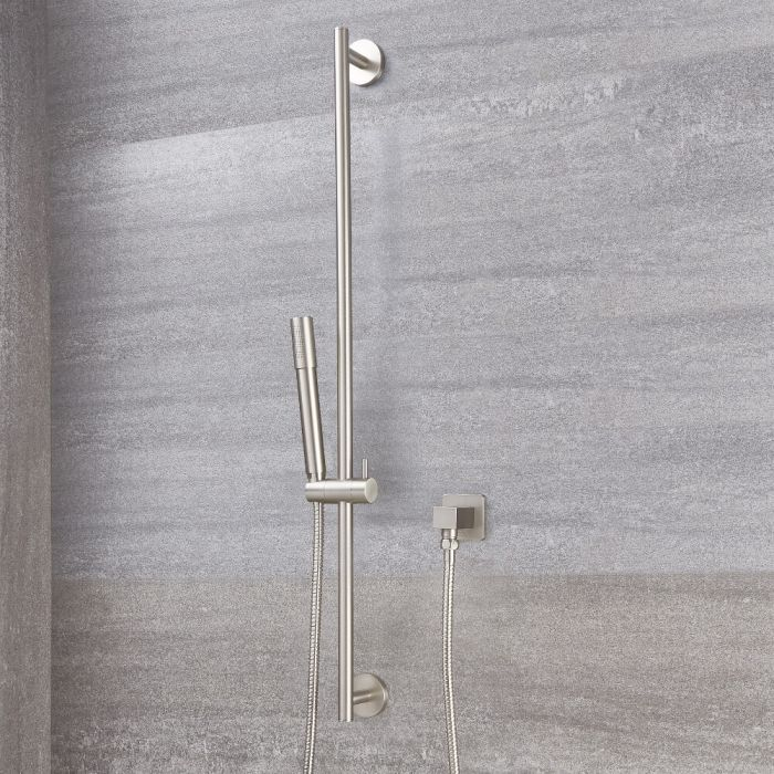 Milano Ashurst - Round Shower Slide Rail Kit - Brushed Nickel