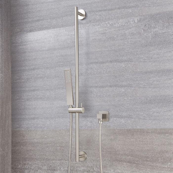 Milano Square Shower Slide Rail Kit - Brushed Nickel