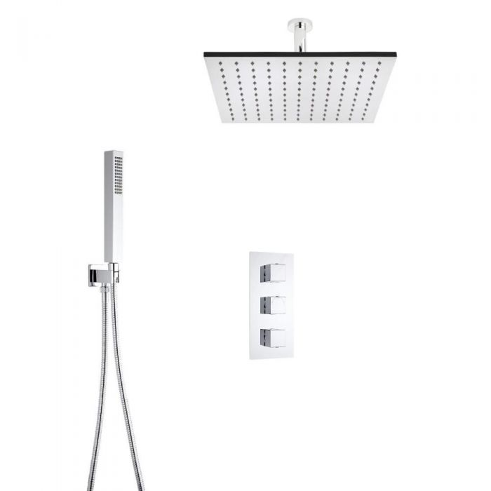 Milano Square Triple Thermostatic Shower Valve With 400mm Shower Head, Ceiling Arm and Hand Shower