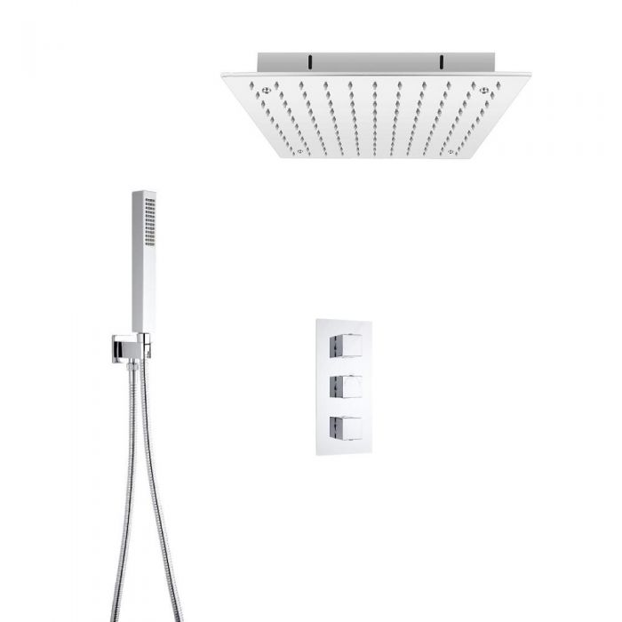 Milano Square Triple Thermostatic Valve, 400mm Recessed Shower Head and Hand Shower