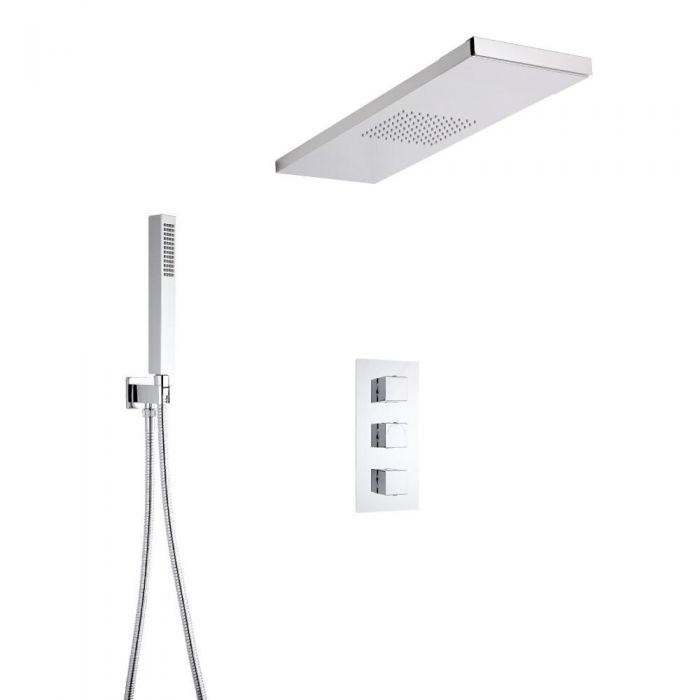 Milano Square Triple Thermostatic Shower Valve With Glass Grabbing Shower Head and Hand Shower