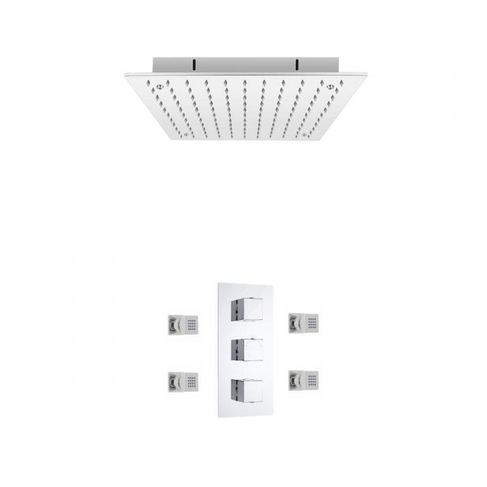 Milano Square Triple Thermostatic Valve With 400mm Recessed Shower Head and Body Jets