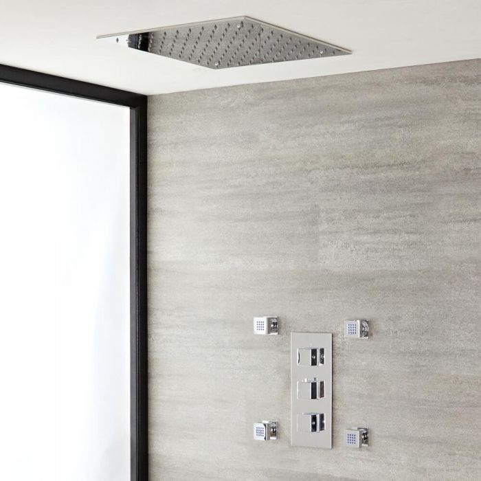 Milano Arvo - Modern Square Triple Thermostatic Valve with Square Recessed Shower Head and Body Jets - Chrome