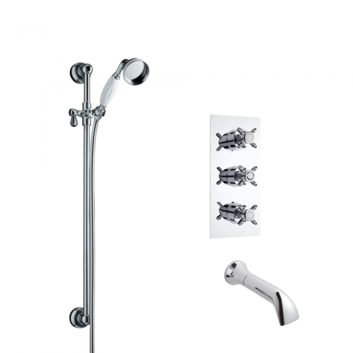 Milano Traditional Triple Thermostatic Shower Valve with Slide Rail Kit & Spout