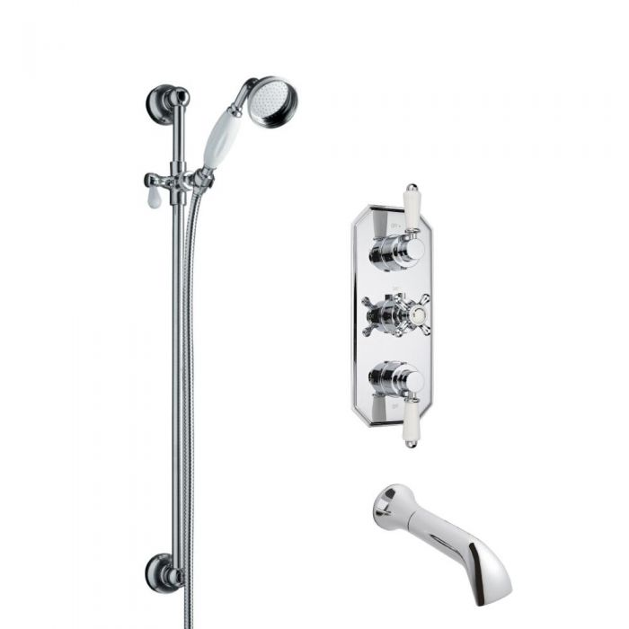 Milano Traditional Triple Thermostatic Shower Valve with Slide Rail Kit and Spout