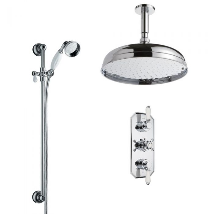 Milano Traditional Triple Thermostatic Valve, 300mm Head, Ceiling Arm, Slide Rail and Spout