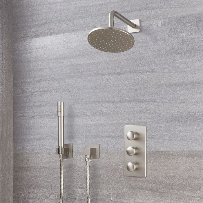 Milano Ashurst - Triple Thermostatic Shower Valve, 200mm Round Head and Hand Shower - Brushed Nickel