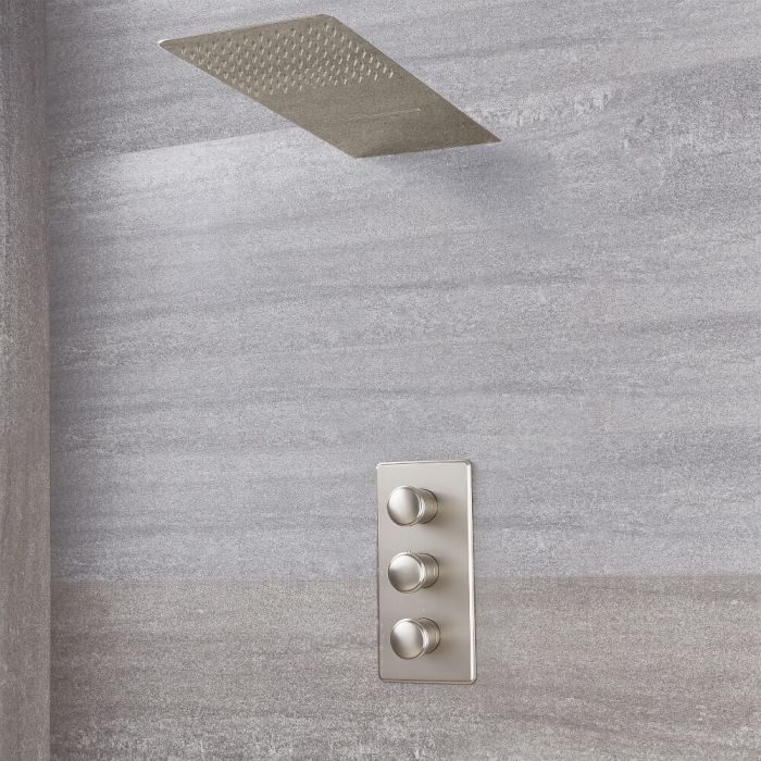 Milano Ashurst - Modern Triple Thermostatic Shower Valve with Waterblade Shower Head - Brushed Nickel